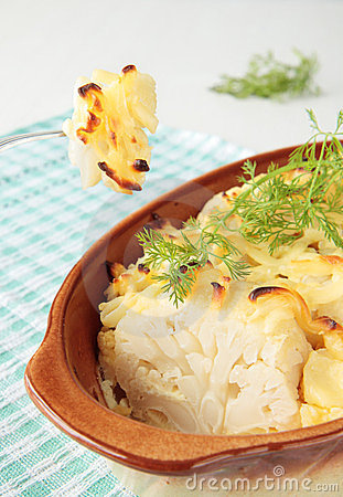 Cauliflower baked with cheese and eggs