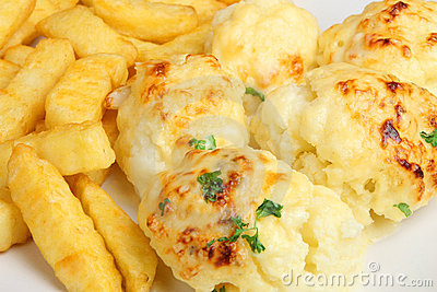 Cauliflower Cheese and Chips