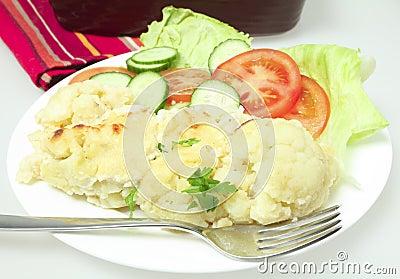 Cauliflower cheese meal horizontal