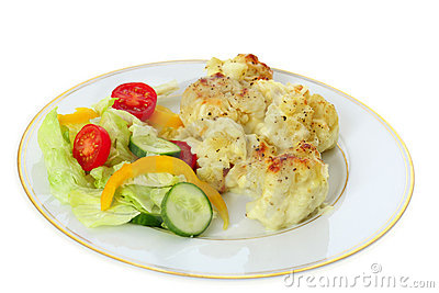 Cauliflower cheese and salad