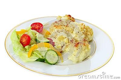 Cauliflower cheese and salad