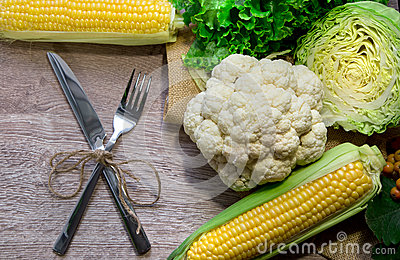 Cauliflower with corn on wood