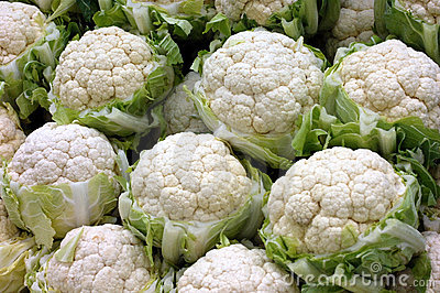 Cauliflowers at the market