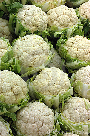 Cauliflowers at the market