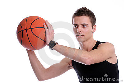 Causal man holding basketball ball