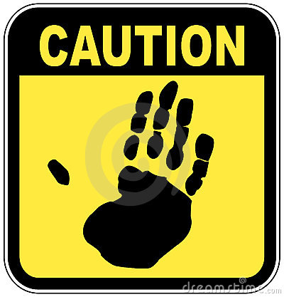 Caution hand sign