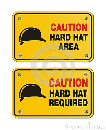 Caution hard hat area signs - rectangle yellow signs