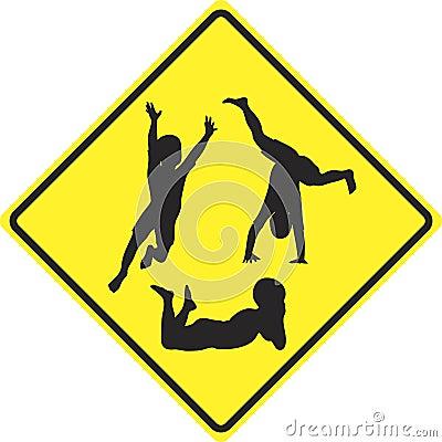 Caution kids playing