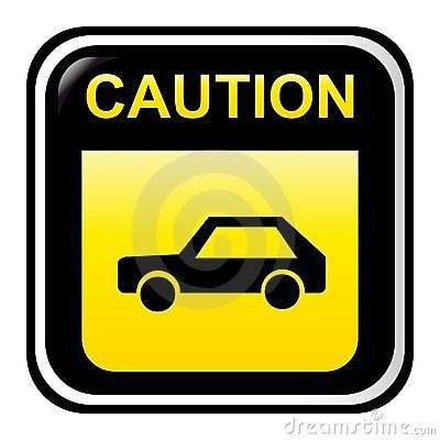 Caution sign - car