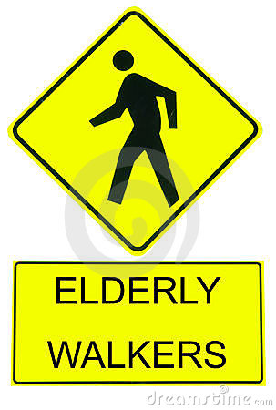 Caution Sign Elderly Walkers