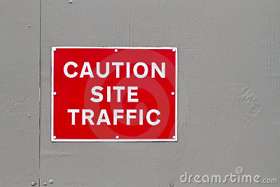 Caution site traffic warning sign