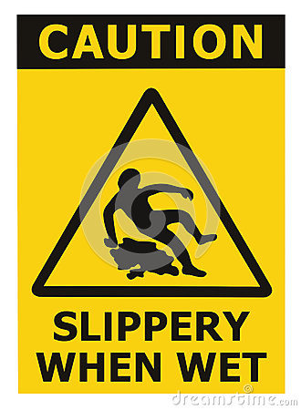 Free Caution Slippery When Wet Text Sign, Black Yellow Isolated Floor Surface Area Danger Warning Triangle Safety Icon Signage, Large Royalty Free Stock Photo - 78294665