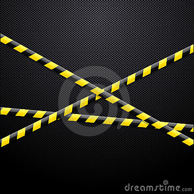 Caution tape on black background