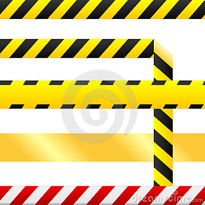 Caution tape and warning signs in seamless vector