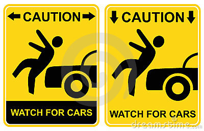 Caution - watch for cars. Warning