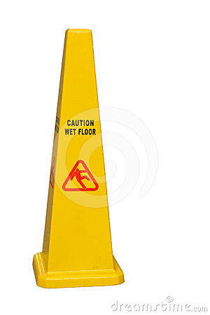 Caution wet floor isolated