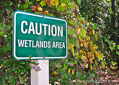 Caution Wetlands Area Sign