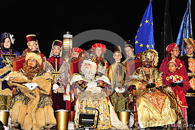 Cavalcade of Magi in Tarragona, Spain Editorial Photography
