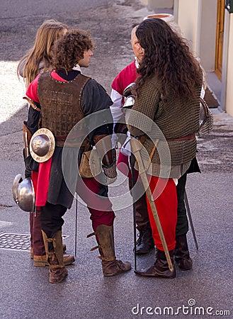 Cavaleiros medievais Imagem Editorial