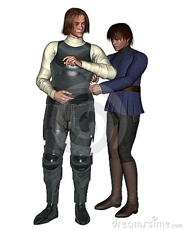 Cavaliere medioevale ed il suo gentiluomo