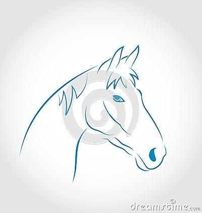 Cavallo capo disegnato a mano su fondo bianco