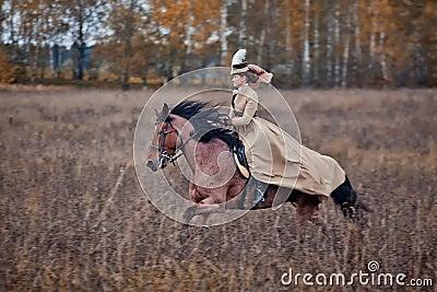 Cavalo-caça com as senhoras no hábito de equitação Foto de Stock Editorial