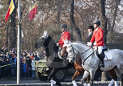 Cavalry parade at romanian national day Editorial Photography