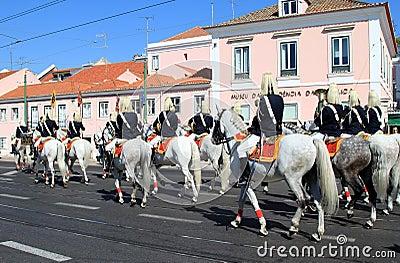 Cavalry Regiment riding Lusitano horses, Belem Editorial Image