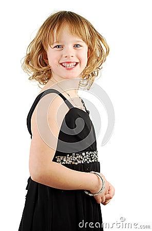 Cavcasian girl in elegant  evening dress