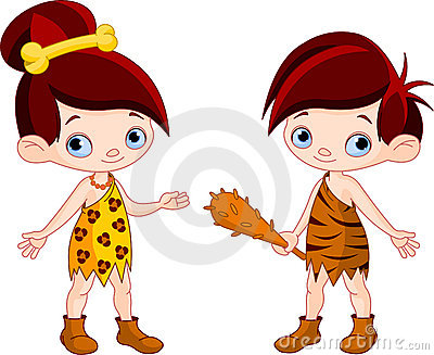 Cave boy and cave girl