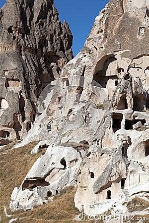 Cave city Uchisar in Cappadocia, Turkey