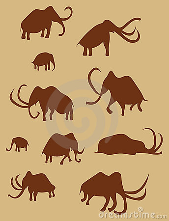 Cave Drawings Of Ancient Mammoths Royalty Free Stock Photography - Image: 10101747