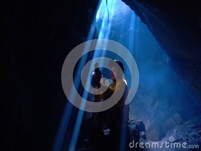 Cave explorers in Phu Langka National Park Thailand stock footage