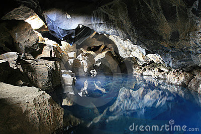 Cave with hot water in Iceland