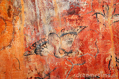 Cave painting bird 1