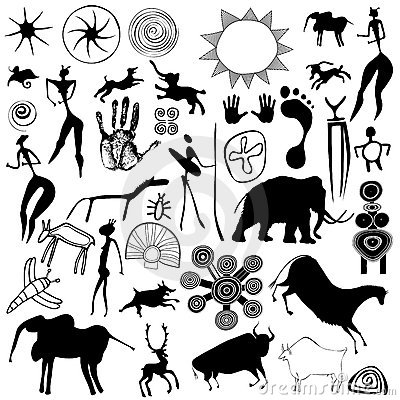 Free Cave Painting - Primitive Art - Vector Royalty Free Stock Image - 22536446