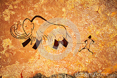 Cave painting of primitive hunt