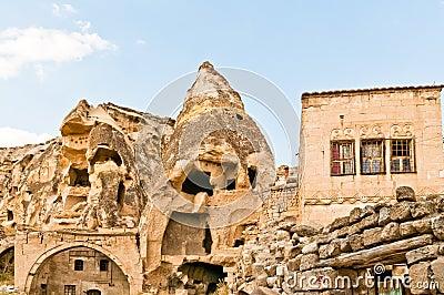 Cave Village Ruins Cappadocia Turkey