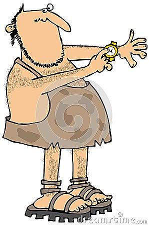 Caveman checking the time