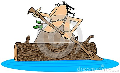 Caveman paddling a log canoe