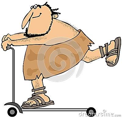 Caveman riding a scooter