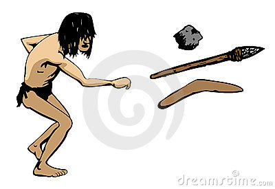 Caveman throws a weapon illustration : Dreamstime