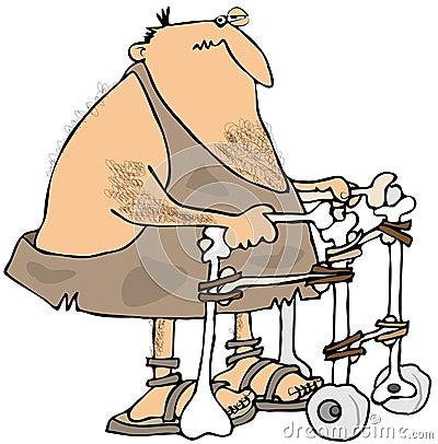 Caveman using a walker