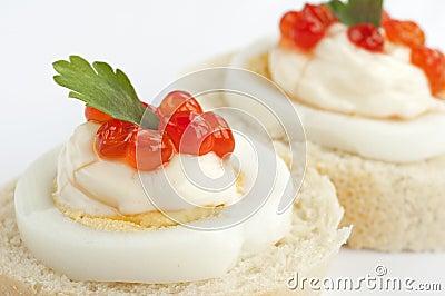 Caviar sandwiches detail