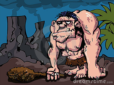 Cavman with big club in prehistoric setting