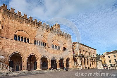 Cavour square in Rimini, Italy Editorial Stock Image