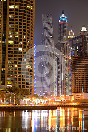 The Cayan Tower in night illumination Editorial Photo