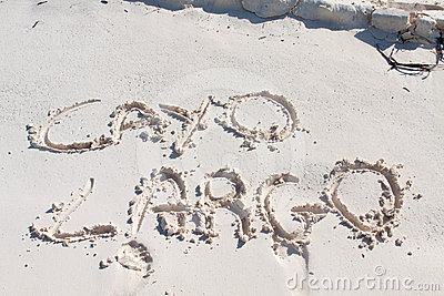 Cayo Largo written on the sand