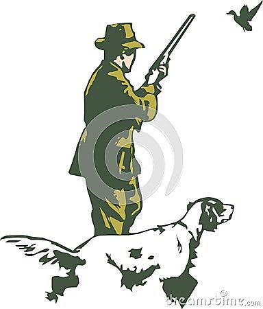 Cazador con el perro