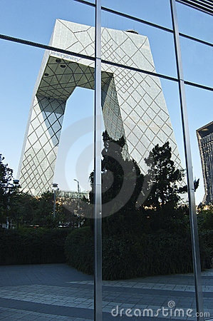 CBD-Beijing -CCTV Tower in Mirror Editorial Photo
